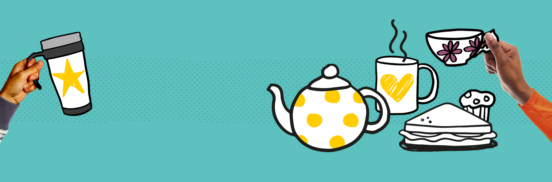 Illustrations of tea pot, steaming mug, sandwich and cup on blue background