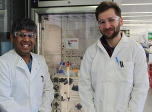 Dr Abul Tarafder and Andriko von Kügelgen from Dr Tanmay Bharat lab in Oxford, by their protein purification equipment named after Boba Fret