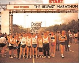 Liam McHugh and team at Belfast Marathon in 1993