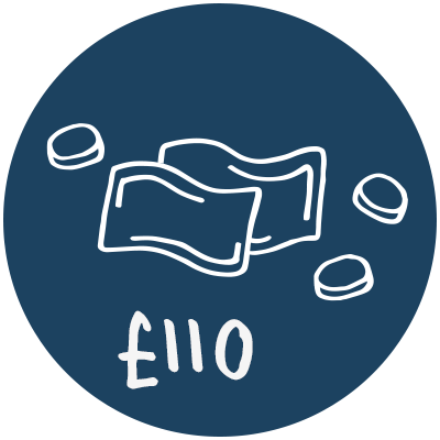 Illustration of money notes and coins with £110 written underneath