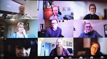 Screenshot of a Teams video call with lots of participants