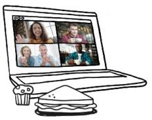 Illustration of a laptop with a video call going on